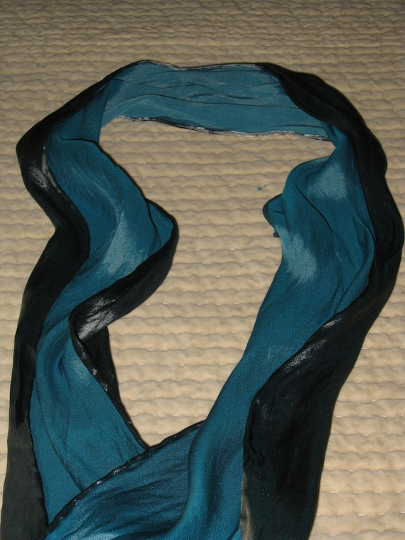 Silk Scarf Hand Dyed - Turquoise Black- Great For Men
