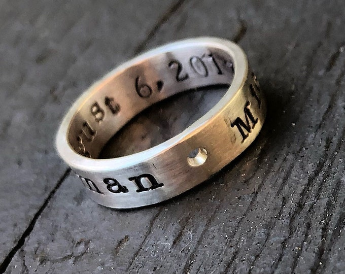 Artisan Custom Hand Stamped Ring - Solid Hand-Forged Sterling Silver - Customizable - Your Message - Inside and/or Outside - Choice of Font