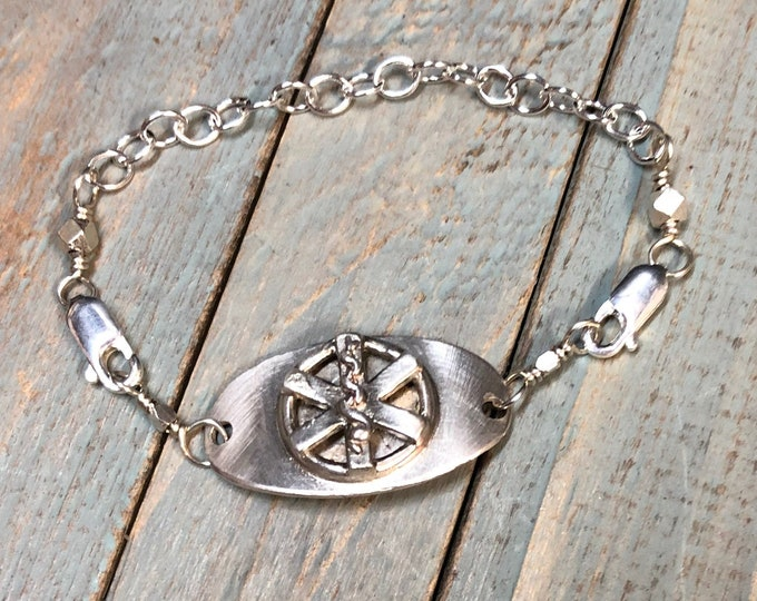 Original Sterling Silver Medic Alert Bracelet - Oval and Unique - Choice of Fonts, Text, and Clasp Arrangment - Medical Condition Alert