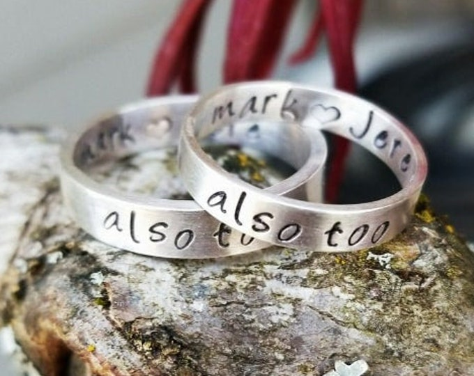 RING SET -Custom Solid Sterling Silver 1 Thick & 1 Thin Hand Stamped Rings -Couples Rings -His and Hers -Matching Rings -Pair of Rings-Bands