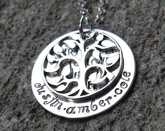 Where there is Love, there is Life - Solid Sterling Silver Hand Stamped Name Necklace - Family Mom Mother Mothers Grandmother - Custom Fonts