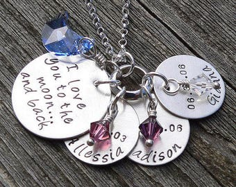 Love You to the Moon Pendant - Solid sterling silver hand stamped necklace, available with customized name charms or crystal birthstones