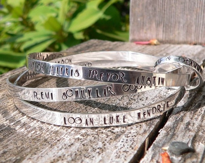 Heirloom Solid Sterling Silver Family Tree or Message Bangle- Hand Forged and Fully Customizable - Choice of Fonts and FInishes