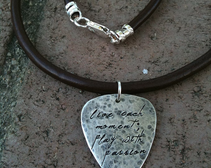 Hand-finished Solid Sterling Silver Guitar Pick - playable - Choice of Fonts, Finishes - Your Own Message. Necklace