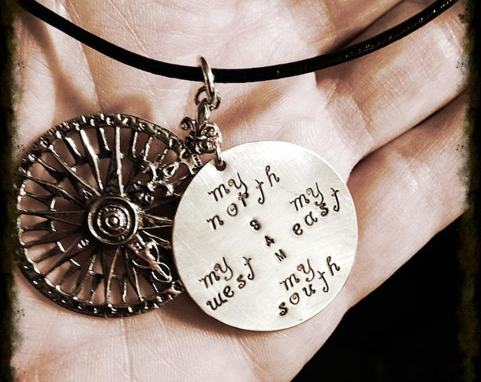 My True North - Solid Sterling Rose Compass Replica Necklace - Customizable Pendant - Many Fonts - Your Own Message - Secret Message