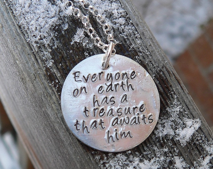 Custom Sterling  Silver 2-sided Thick Disc Necklace Choice of 42 fonts and over 400 Symbols - Every finish - Artisan Message Necklace - Gift