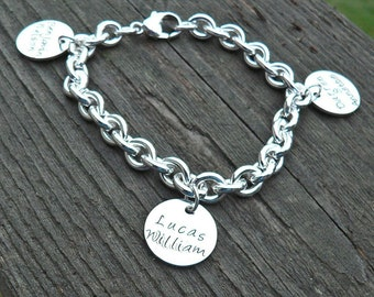 Super Thick Heavy Sterling Charm Bracelet - Hand Stamped Charms - 1-4 Charms - Circle, Heart, or Oval Charms - Great for Mothers Grandmother