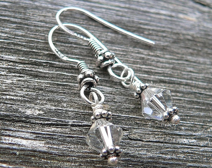 Simply classic Swarovski Crystal and Sterling Silver Drop earrings - Handmade and Versatile - Choice of Earwire or Leverback and Finish