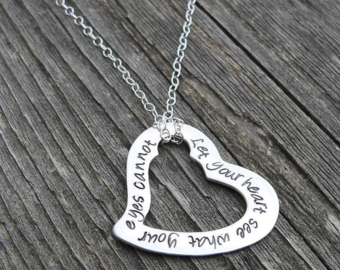 Written on My Heart Necklace in Solid Sterling Silver with any Names, Numbers, or Short Phrase Your Own Message Hand Stamped Gift Valentine