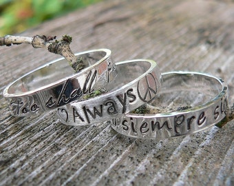 3 Stacked Custom Solid Sterling Silver Set of Stackable Hand Stamped Rings - You Choose Font & Finish - Your Message or Quote - Unique Gift