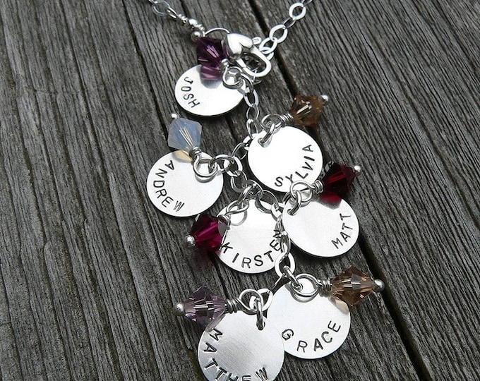 Cascade Mothers or Family Necklace - Solid Sterling & Swarovski Birthstones