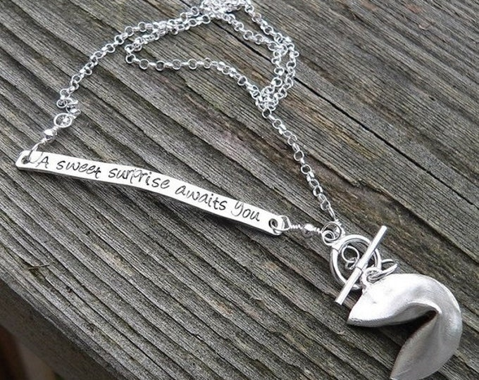 BLACK FRIDAY SALE - Custom Stamped Solid Sterling Silver Fortune Cookie Locket Necklace - Unique gift - Choice of Fonts - Your own Message -