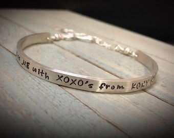 ONE Custom Stamped Sterling Silver Phrase Bracelet Clasp Cuff- Adjustable- Your Own Message and Font- Hand Stamped Inside or Outside - Fonts