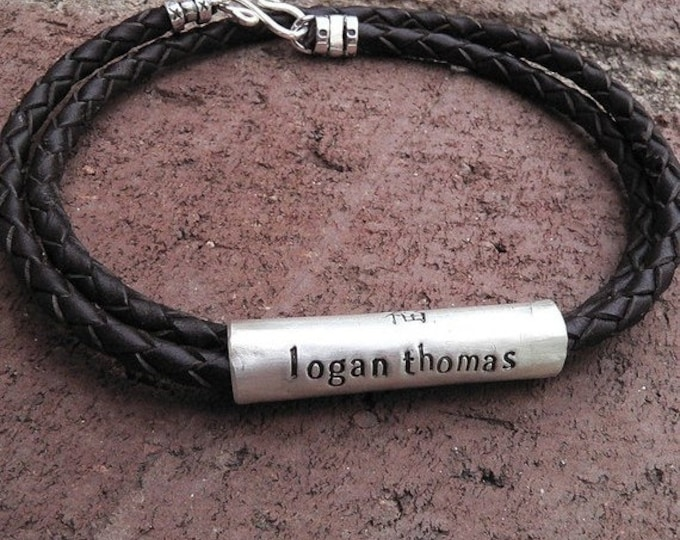 BLACK FRIDAY SALE - Convertible Men's Latigo Leather and Sterling Silver Hand-Hewn Custom Necklace or Bracelet - Many Font Choices - Rustic