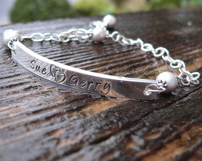 BLACK FRIDAY SALE - Sterling Silver Id or Word Bracelet (or Medical Alert) Hand Stamped with Any Name, Condition, Word, or Short Phrase.