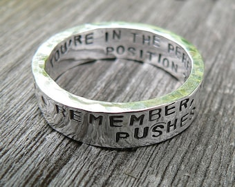 Artisan Custom Hand Stamped thick Ring - Solid Hand-Forged Sterling Silver - Your Message - Inside AND Outside - Choice of Font & Finish