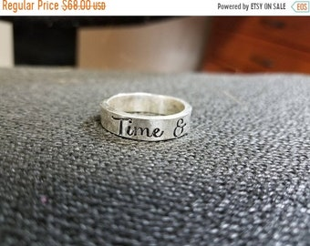 BLACK FRIDAY SALE - Custom Hand Stamped thick Ring - Solid Hand-Forged Sterling Silver - Customizable - Your Message - Inside and/or Outside