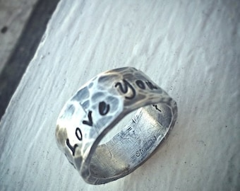 BLACK FRIDAY SALE - Custom Hand Stamped Extra Wide Ring - Solid Hand-Forged Sterling Silver - Customizable - Your Message - Inside And Outsi