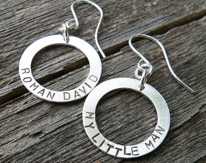 BLACK FRIDAY SALE - Circle of Love Earrings - Choose Custom Phrase Name or Words - Several Font Choices - Solid Hand Forged Sterling Silver