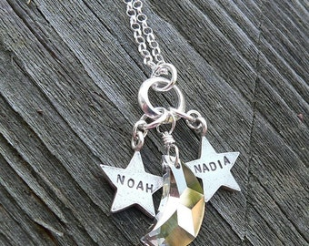 You are the Star(s) in my Sky... Choose up to 3 Stars or Names - Artisan Custom Font Choices Childrens Names - Mom Necklace Mommy Grandma