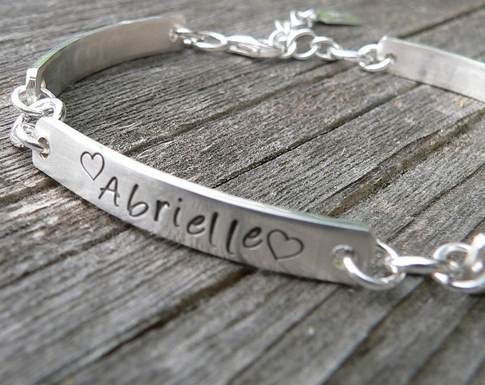 Stamped Sterling Silver Hand Hewn Link Bracelet with Heart Charm - Customize Words, Font - Message Bracelet - Forever quality - comfortable!
