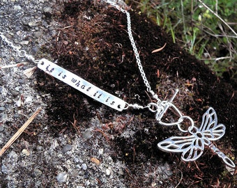 Custom Artisan Solid Sterling Silver Inscribed Secret Message Necklace - Dragonfly or Butterfly - Choose Font and Length