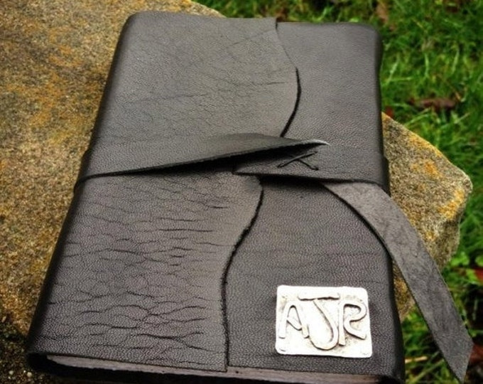 BLACK FRIDAY SALE - Rustic Leather Hand-Bound Journal - Customized in Sterling & Copper