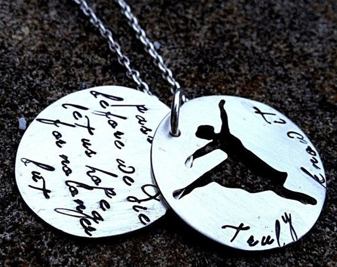 BLACK FRIDAY SALE - Truly know it - An inspired soild sterling silver phrase necklace - double disc, custom cut out shape - wonderful and me