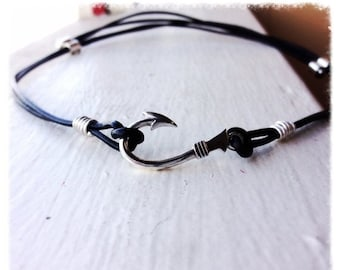 BLACK FRIDAY SALE - Fishers of Men Solid Sterling Fish Hook and Leather Adjustable Necklace