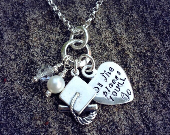 Oh the Places You'll Go -Graduation charm necklace in Solid Sterling Silver Freshwater Pearl Swarovski Crystal - Can be customized name date