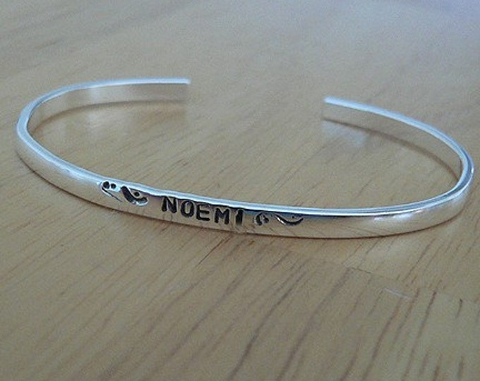 Custom Sterling Silver Baby Cuff - Classic Baby Bracelet - Rounded edges - Your own Message!  You Personalize with Font Choices