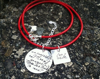 An Invisible Red Thread Adoption Necklace Personalized Solid Sterling Silver Hand Stamped Red Leather OR Sterling Chain