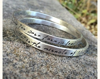 BLACK FRIDAY SALE - Set of Two Thick Sterling Silver Bangles - Personalized Inside or Outside - Fully Customizable - Choice of Many Fonts an