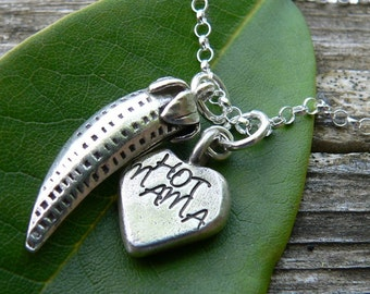 Spicy Hot Mama.  Rustic Artisan Sterling Silver Necklace.  Customize if you wish, Font, Message, and FInish. Handstamped, Hand Stamped