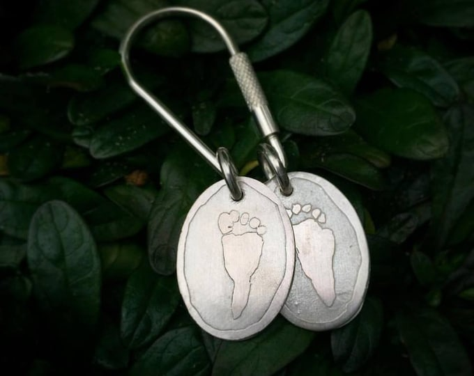 Solid Sterling Oval Charms Keyring Key Ring Key Fob Keyfob Actual Handprint likeness - Hand Print Foot Print Paw Print Footprint Pawprint