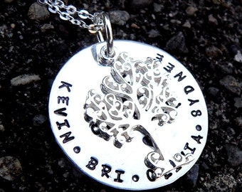 I Am Complete. Customized or Personalized Unique Solid Sterling Silver Family Tree Necklace. Tree of Life. Names.