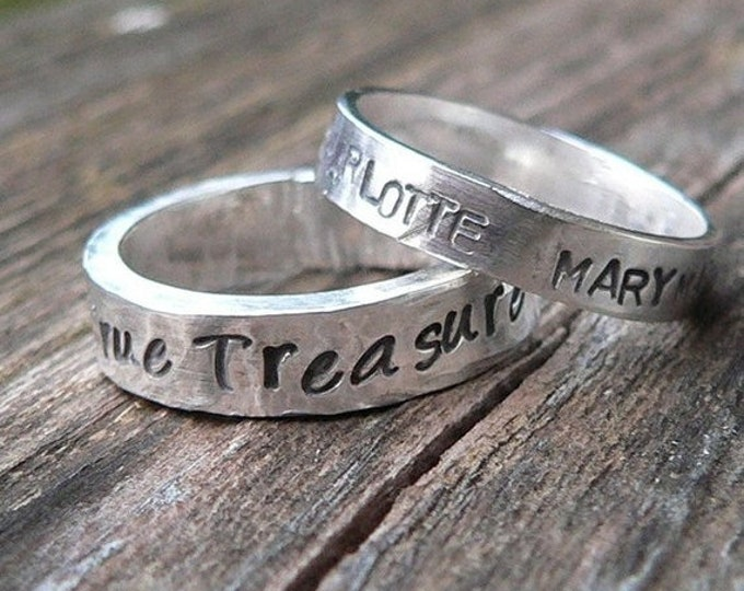 BLACK FRIDAY SALE - Ring Set - Custom Solid Sterling Silver One Thick & One Thin Hand Stamped Rings - Couples Rings - His and Hers - Choose