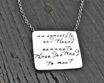 BLACK FRIDAY SALE - An Invisible Red Thread...an Adoption Necklace...Personalized...Solid Sterling Silver Hand Stamped and Red Greek Leather