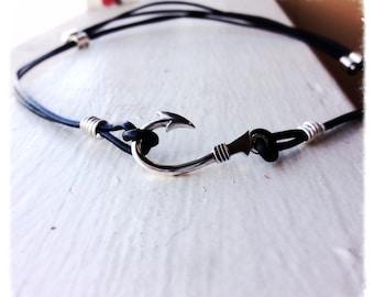 Fishers of Men Solid Sterling Fish Hook & Leather Adjustable Necklace, Rugged Men's Necklace- Symbolic- Adjustable - Choose Color of Leather