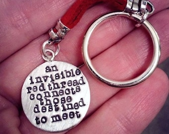 BLACK FRIDAY SALE - An Invisible Red Thread...an Adoption Keychain - Solid Sterling Silver & Leather - Hand Stamped - Customizable - Add Nam