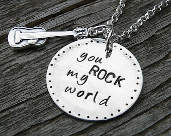 You ROCK My World.  a Unique Solid Sterling Silver Charm necklace - Hand Stamped - Customize if you wish
