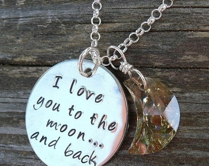 BLACK FRIDAY SALE - Love You to the Moon Pendant - Solid sterling silver hand stamped necklace, available with customized name charms or cry