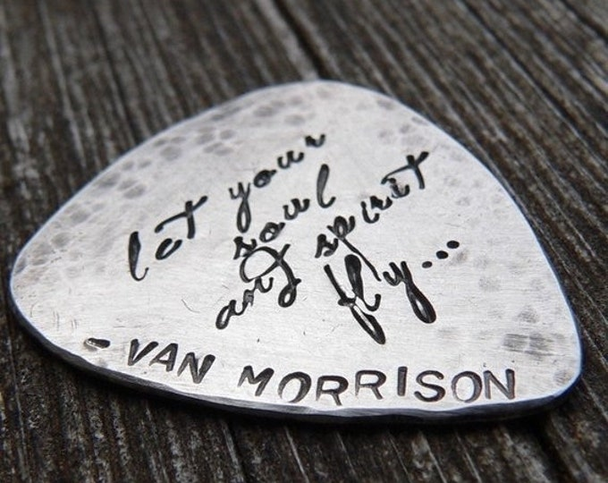 BLACK FRIDAY SALE - Hand-finished Solid Sterling Silver Guitar Pick - playable - Choice of Fonts, Finishes - Your Own Message. Can Stamp Bot