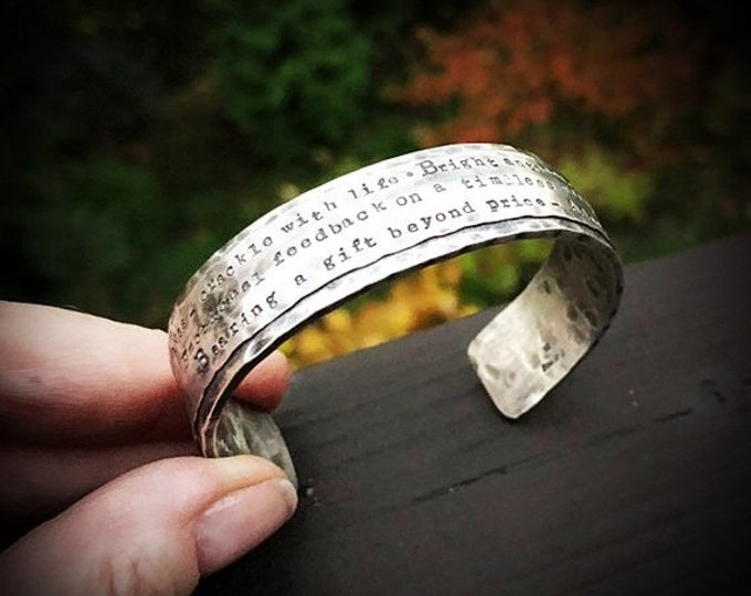 BLACK FRIDAY SALE - Rustic, Wide & Heavy Sterling Silver Classic Cuff - Personalized with Your Phrase