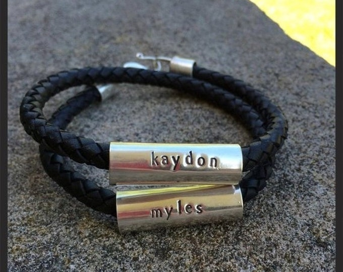 """BLACK FRIDAY SALE - Men's Latigo and Sterling Silver """"Tube"""" Double Wrap Bracelet - Extra Thick, 8mm leather - Custom Message or Names - Many"""
