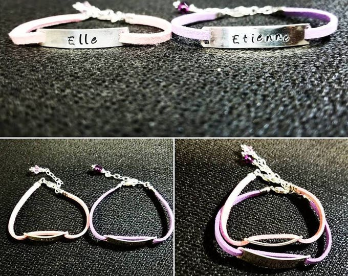 Childrens Sterling Silver & Suede Leather Hand Hewn Custom Bracelet - Boy or Girl - Perfect for Gift, Special Occasion, Graduation, Baptism
