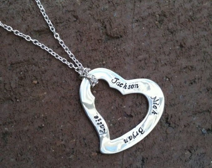 Written on My Heart ... solid sterling silver artisan custom Necklace.  Choose Your own Font, Finish, Message or Names or Words.  Handmade.