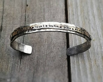 Heavy Sterling Silver Classic Cuff - Personalized for Men Your Message, Words, Dates, Symbols - Rustic Thick Stamped Forever Brass Accents