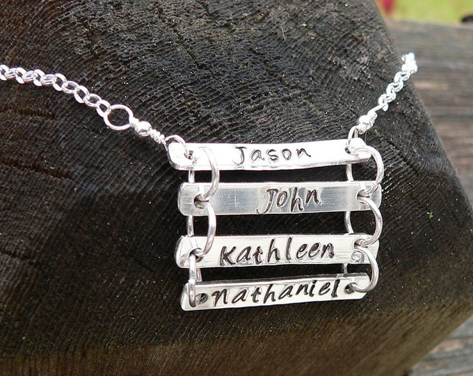 Artisan Custom Solid Sterling Silver Ladder Style  Necklace - Custom Words/Names with choice of font - Choose up to 5 Names/Words/Rungs