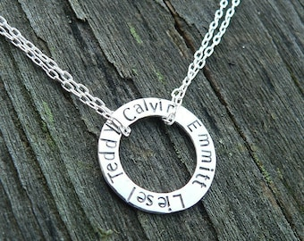 Solid Sterling Silver Circle Necklace Washer Necklace with doubled sterling chain - Custom - Many Font Choices - Your Names or Message Words